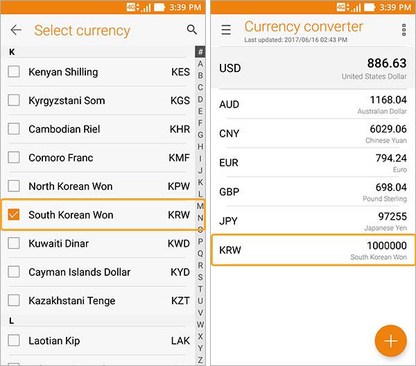 Convertisseur de devises sélection devise
