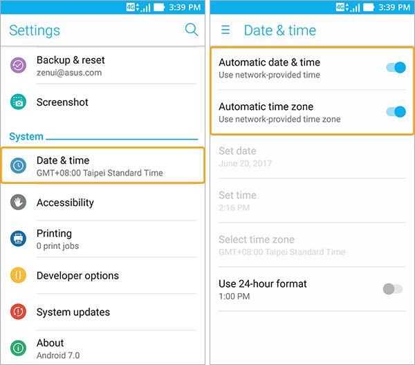 Définir date et heure automatiquement sur Zenfone