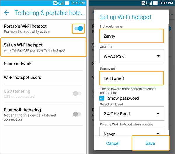 paramétrer wifi hotspot zenfone