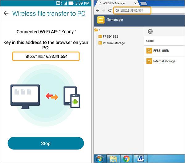 transfert fichiers pc smartphone