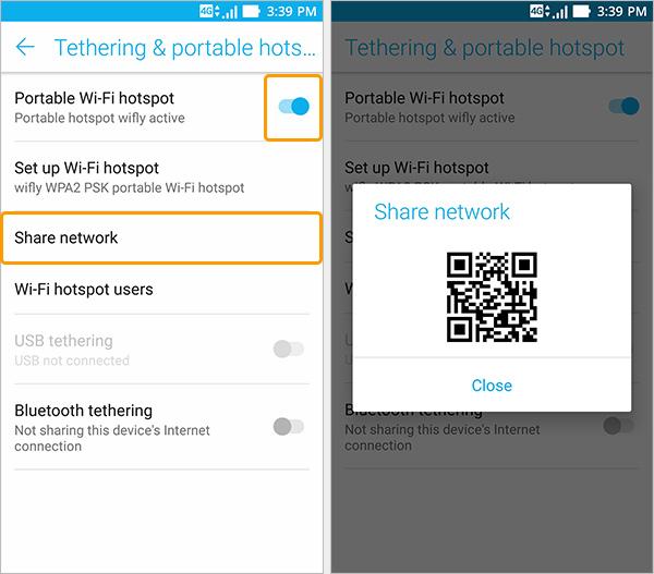 Partager réseau smartphone avec qr code